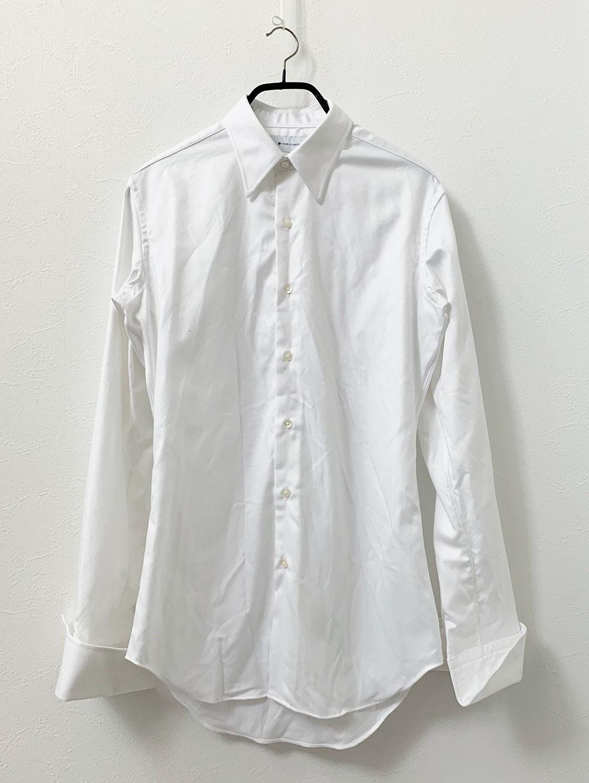 EASY CARE加工ホワイトフランス綾シャツ 洗濯後
