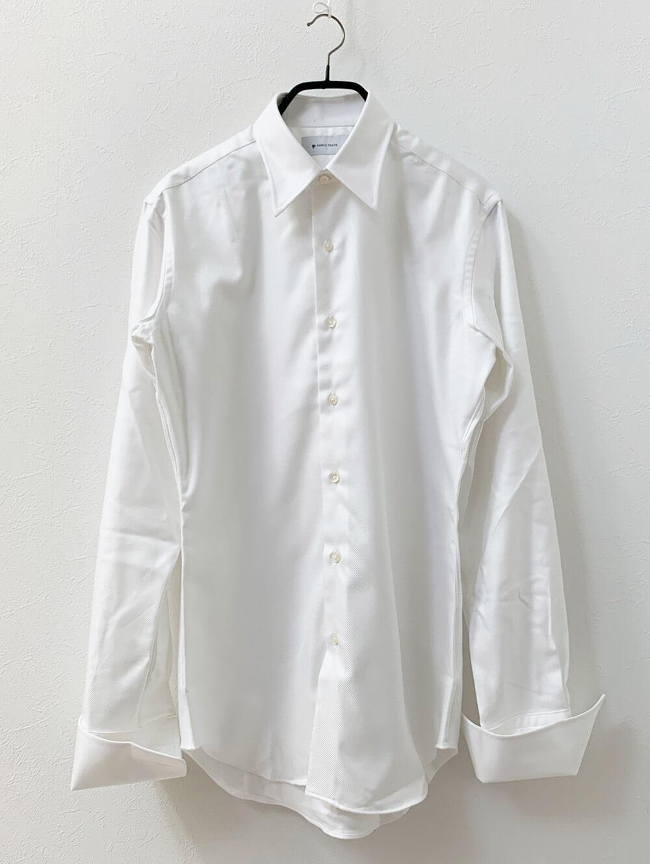 EASY CARE加工ホワイトフランス綾シャツ 洗濯前