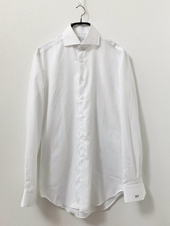 NON IRON CPホワイトトリプルストライプシャツ 洗濯後