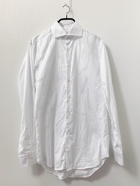 BASICホワイトダイアゴナルシャツ 洗濯後