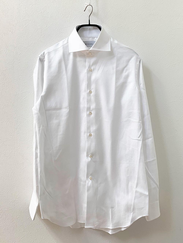 国産のしなやかコットンホワイトダイアゴナルシャツ 洗濯前